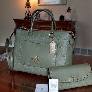 Coach Emma signature leather satchel + wallet set